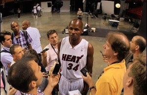 Photo by Chris Trotman: After passing Reggie Miller for the most three pointers of any player in NBA history, Ray Allen made headlines by making the move from Boston to South Beach and becoming a cornerstone in the Heat's backcourt.