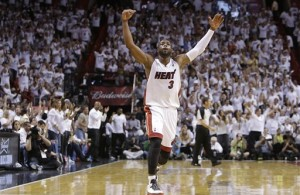 Dwyane Wade celebrates as he and the Miami Heat return to the NBA Finals.