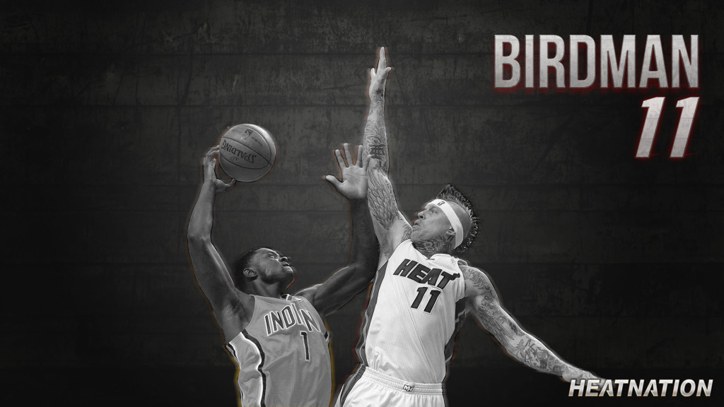 "Here is a Chris ""Birdman"" Anderson wallpaper portraying a violent rejection that is about to occur on Lance Stephenson.  The Miami Heat beat the Indiana Pacers in the Eastern Conference Finals."