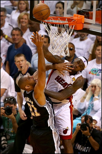 LeBron blocks Tim Duncan