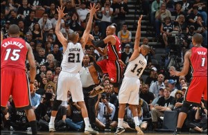 Ray Allen of the Miami Heat against the San Antonio Spurs