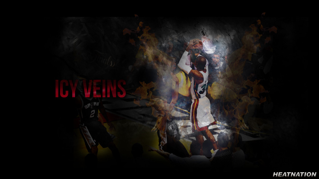 Heat Nation presents a Ray Allen wallpaper of Miami Heat shooting guard Ray Allen making a corner three in Game 6 of the NBA Finals against the San Antonio Spurs.