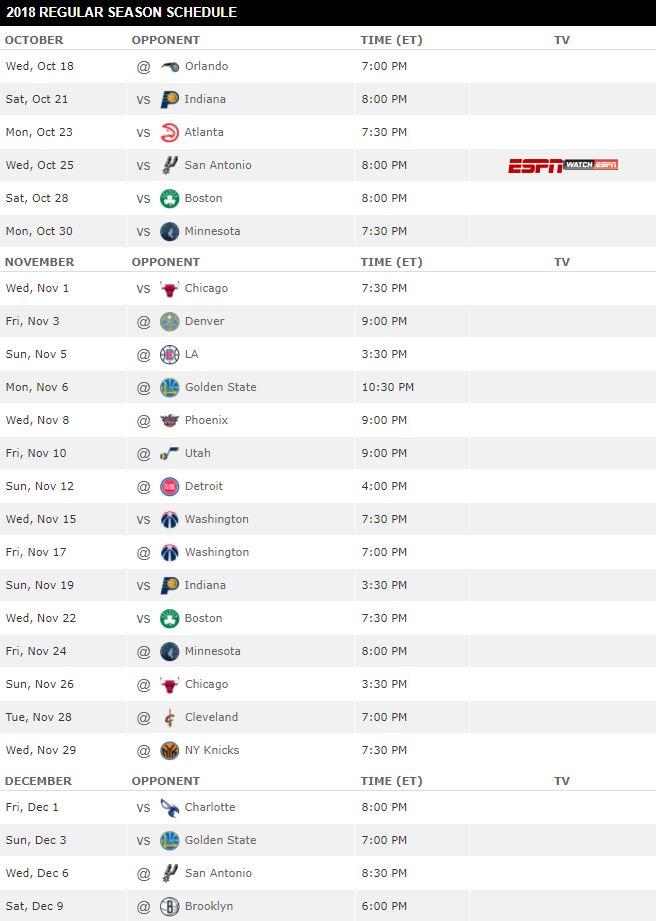 Miami Heat Regular Season Schedule for 2017-2018