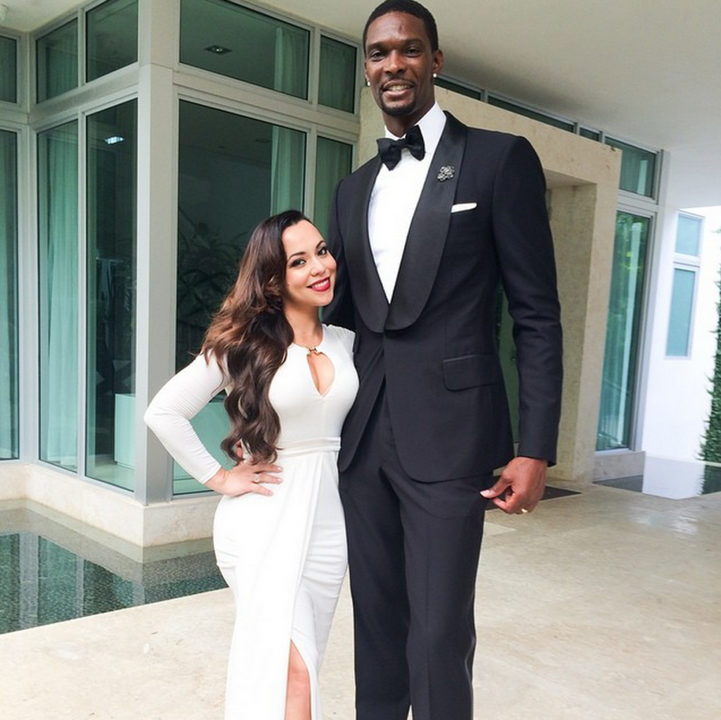 Chris Bosh with his wife Adrienne