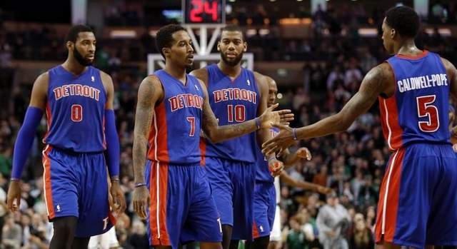 Brandon Jennings and Andre Drummond of the Detroit Pistons