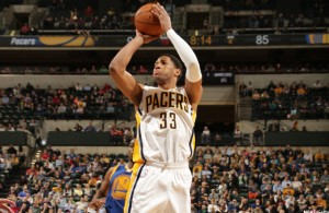 Danny Granger shooting a three pointer