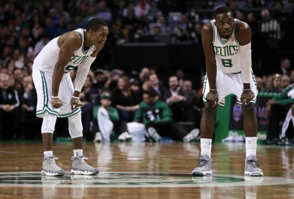 Rajon Rondo and Jeff Green of the Boston Celtics