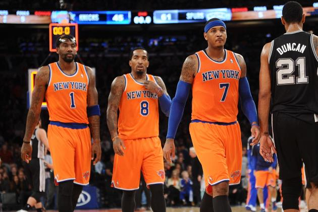 Amar'e Stoudemire, JR Smith, and Carmelo Anthony of the New York Knicks