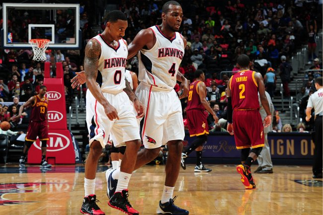 Jeff Teague and Paul Milsap of the Atlanta Hawks