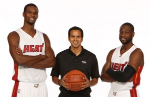 Chris Bosh, Erik Spoelstra, and Dwyane Wade at Heat Media Day