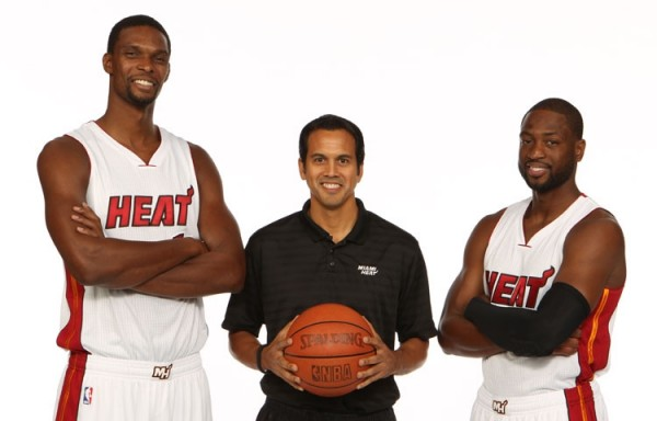 Chris Bosh, Erik Spoelstra, and Dwyane Wade at Heat Media Day