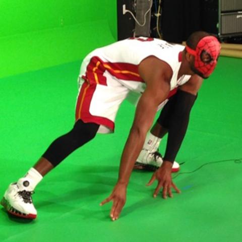 Dwyane Wade as spider man on Heat Media Day