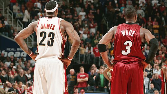 LeBron James and Dwyane Wade with their backs turned