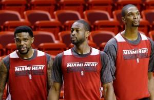 Dwyane Wade, Chris Bosh, and Udonis Haslem