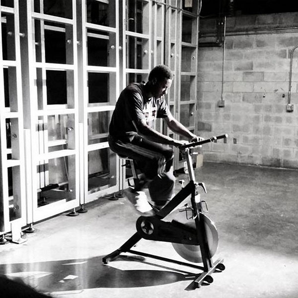 Mario Chalmers on the stationary bike
