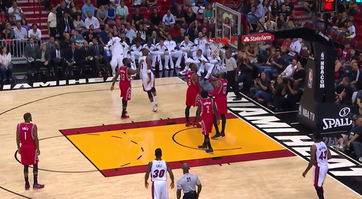 Video: Chris Bosh Hits the Amazing Circus Shot