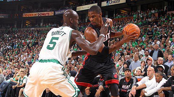 Chris Bosh against Kevin Garnett