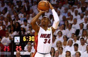 Ray Allen shoots a three pointer on the Miami Heat