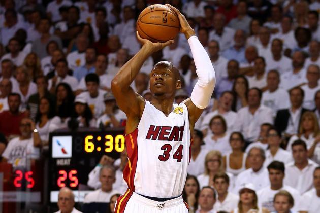 Ray Allen shoots a three pointer on the Miami Heat