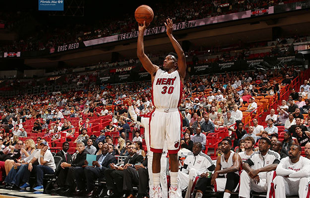 Norris Cole shoots against Orlando Magic