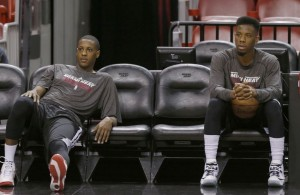 Mario Chalmers and Norris Cole on the bench