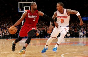 Dwyane Wade against J.r. smith of the New York Knicks