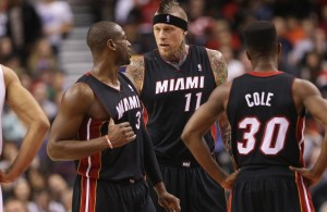 Dwyane Wade, Chris Andersen, and Norris Cole
