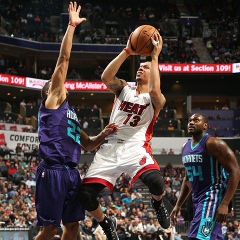 Shabazz Napier of the Miami Heat against the Charlotte Hornets