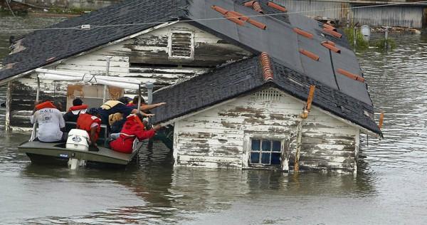 Hurricane Katrina breaking a house