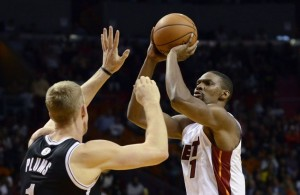 Chris Bosh Against Mason Plumlee of the Brooklyn Nets