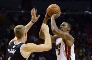 Chris Bosh Against Mason Plumlee of the Brooklyn Nets