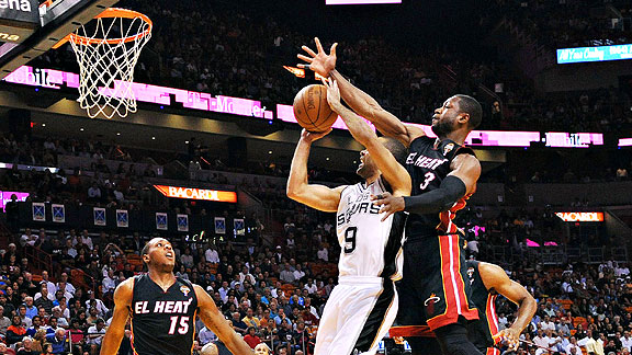 Dwyane Wade block on Tony Parker