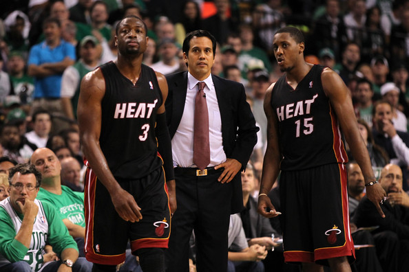 Dwyane Wade and Erik Spoelstra