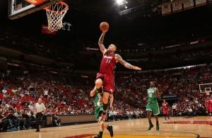 Chris Andersen dunking against the Boston Celtics