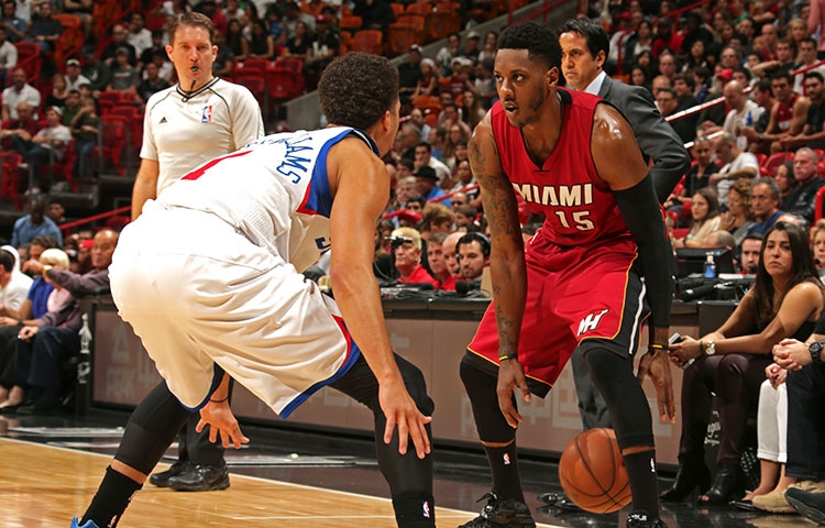 Mario Chalmers sizes-up Michael Carter-Williams of the Philadelphia 76ers