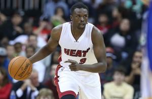 Luol Deng dribbling Miami Heat