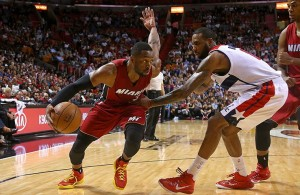 Dwyane Wade dribbling against the Washington Wizards