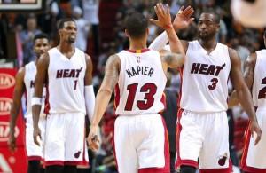 Miami Heat Dwyane Wade and Shabazz Napier