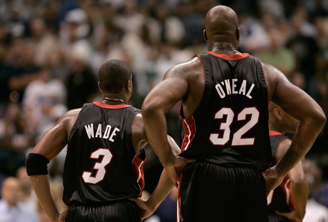 Dwyane Wade and Shaquille O'Neal of the Miami Heat