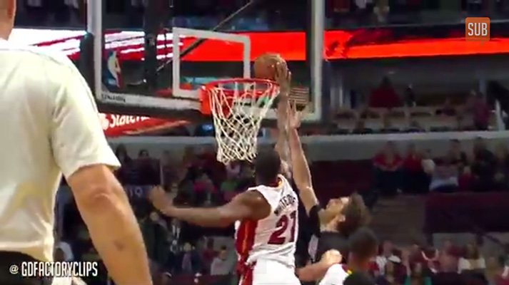 Hassan Whiteside blocking for Miami Heat