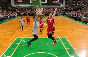 Tyler Johnson of the Miami Heat dunking