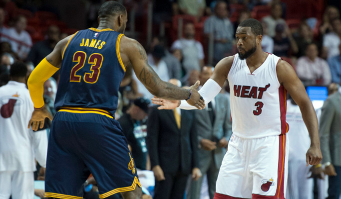 Mar 16, 2015; Miami, FL, USA; Cleveland Cavaliers forward LeBron James (23) and Miami Heat guard Dwyane Wade (3) shake hands before the start of the game at American Airlines Arena. Mandatory Credit: Tommy Gilligan-USA TODAY Sports