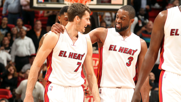 Dwyane Wade and Goran Dragic of the Miami Heat