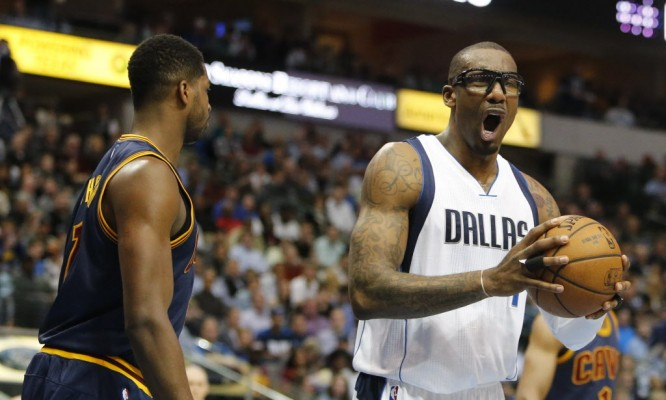 Mavs' forward Amar'e Stoudemire motions after a referee call for Cavs' center Tristan Thompson during the first half of the regular season NBA game between the Dallas Mavericks and the Cleveland Cavaliers on Tuesday, March 10, 2015 at the American Airlines Center in Dallas. (Gregory Castillo/The Dallas Morning News)