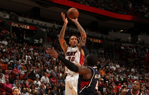 Michael Beasley shooting a jumper on the Miami Heat