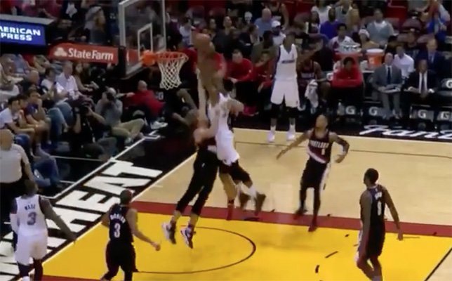 Video: Hassan Whiteside Throws Down Vicious Alley-Oop Dunk on Two Blazers Defenders