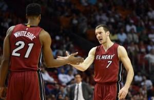 Hassan Whiteside and Goran Dragic of the Miami Heat