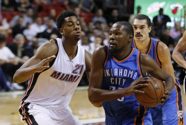 Hassan Whiteside and Kevin Durant