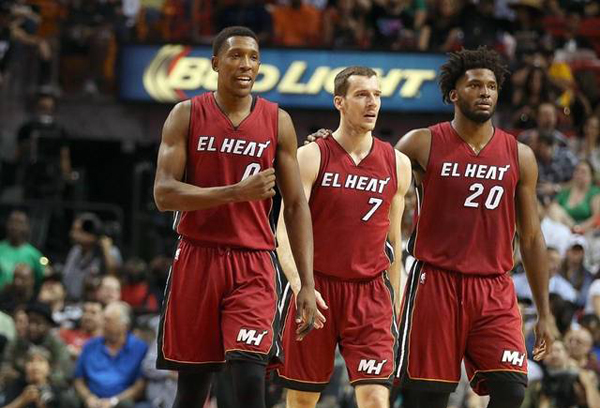 Josh Richardson, Goran Dragic, and Justise Winslow