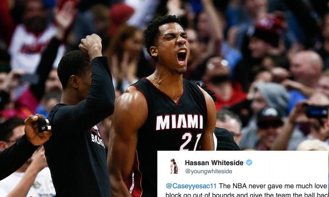 NBA Snubs Hassan Whiteside in Top 50 Blocks of 2016 Video, Whiteside Reacts Accordingly